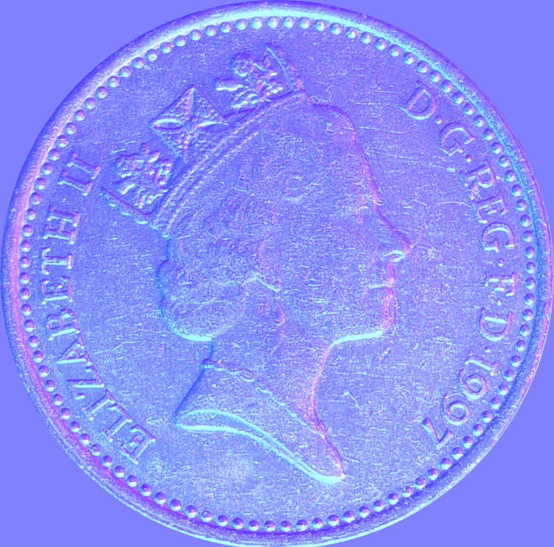 Normal Map of a Ten Pence Coin