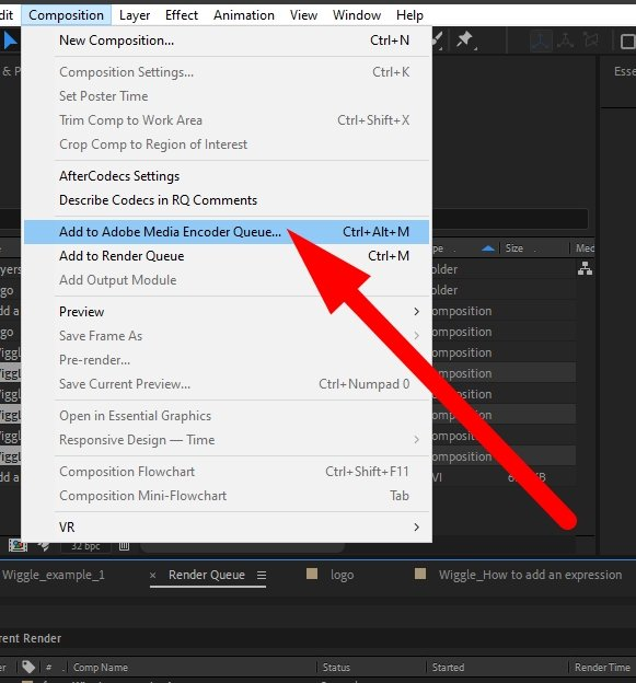 Add to Media Encoder Queue from After Effects