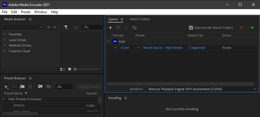 Adobe Media Encoder Render Queue set to MP4