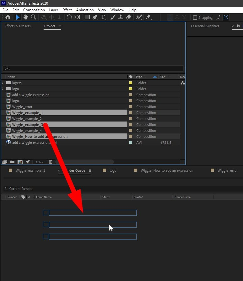 Drag and Drop Compositions to the After Effects Render Queue