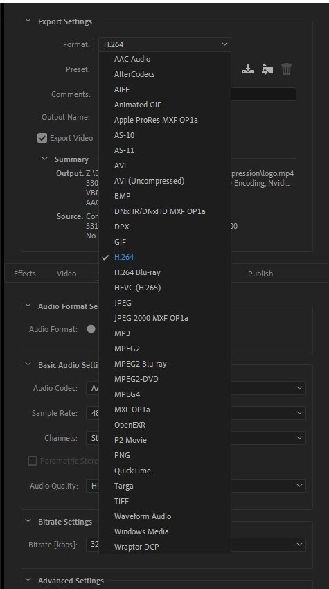 MP4 Format included in Media Encoder Output Format Settings