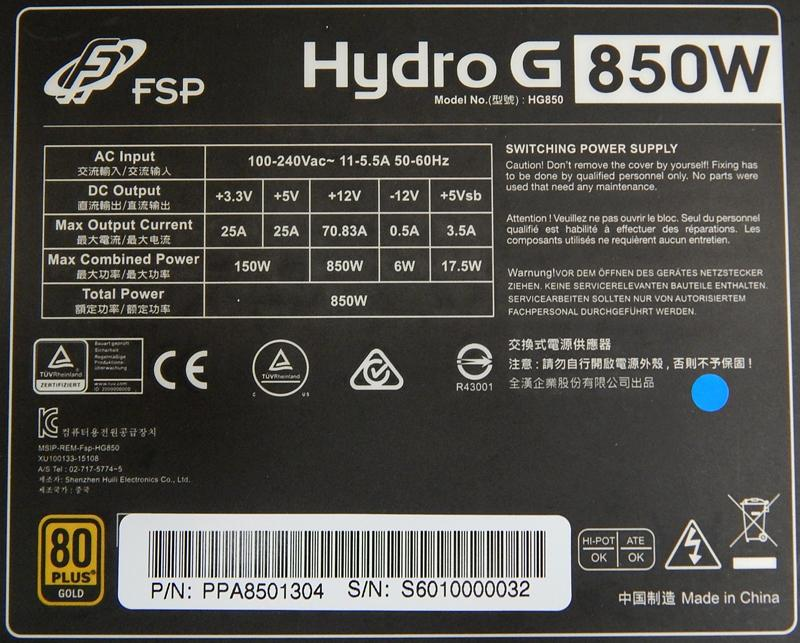 FSP Hydro G 850W Gold Power Supply Review - PC Perspective