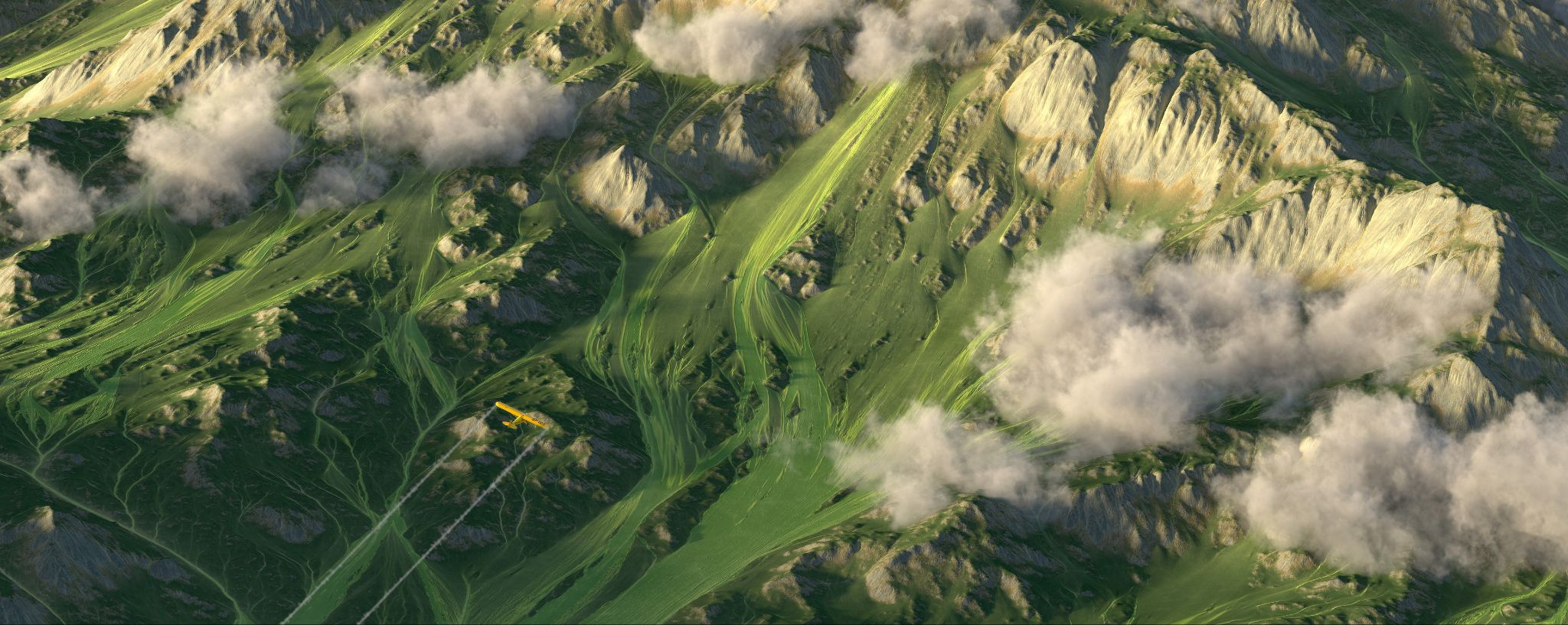 Model of mountains and valleys created using Height Map
