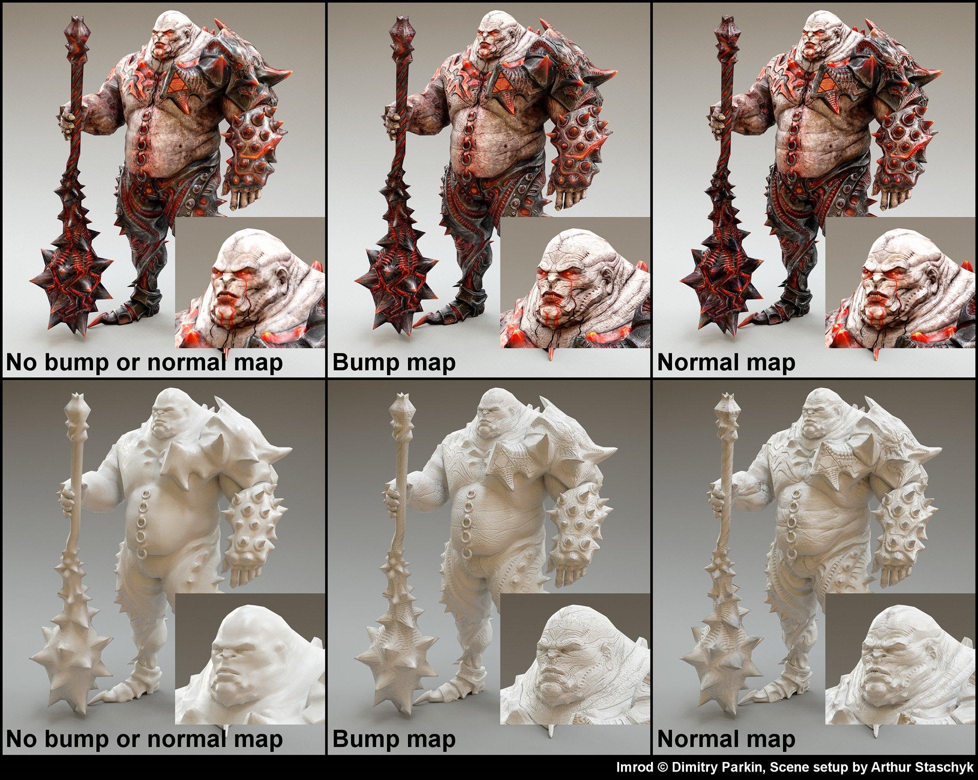 No bump/normal map vs Bump map vs Normal Map